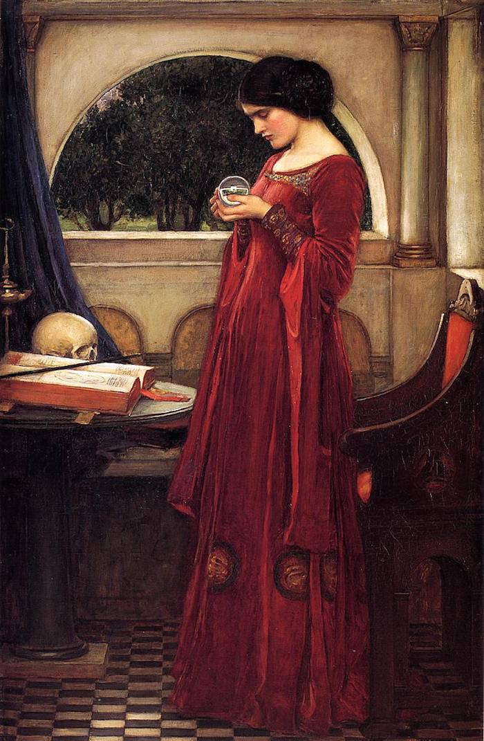 """The Crystal Ball"" (1902) by John William Waterhouse. Image via Wikipedia Commons"
