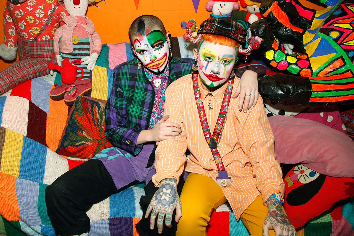 jokers to the right meet london u0027s notorious drag clown duo broadly