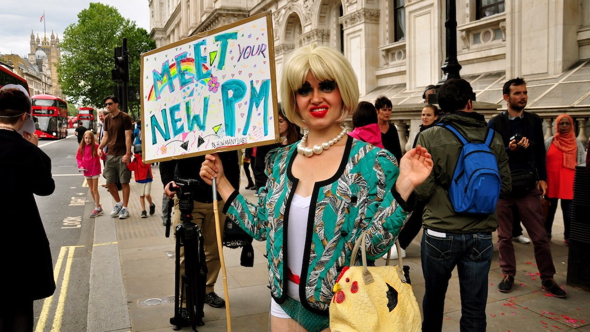 A Drag Queen Dressed as Theresa May Attempted to Enter Downing Street